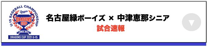 名古屋緑ボーイズ(愛知) VS 中津恵那リトルシニア(岐阜)